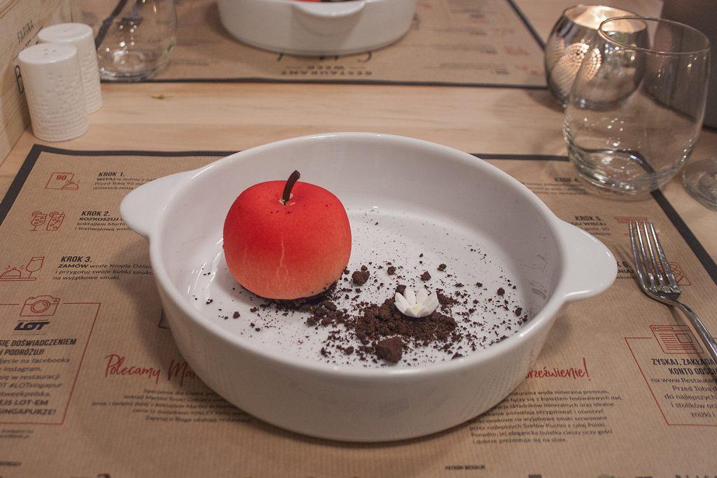 Kwaśne jabłko, deser, Farina Bianco, Łódź, Restaurant Week